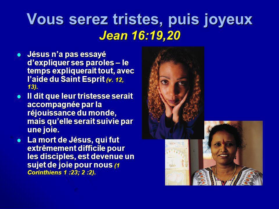 Vous serez tristes, puis joyeux Jean 16:19,20