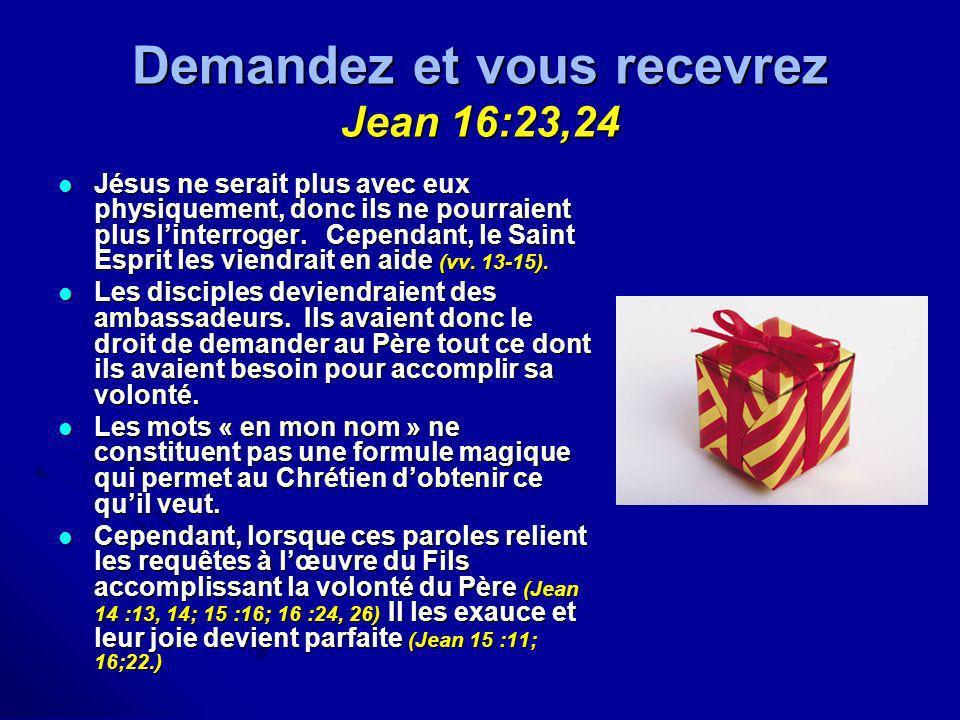 Demandez et vous recevrez Jean 16:23,24