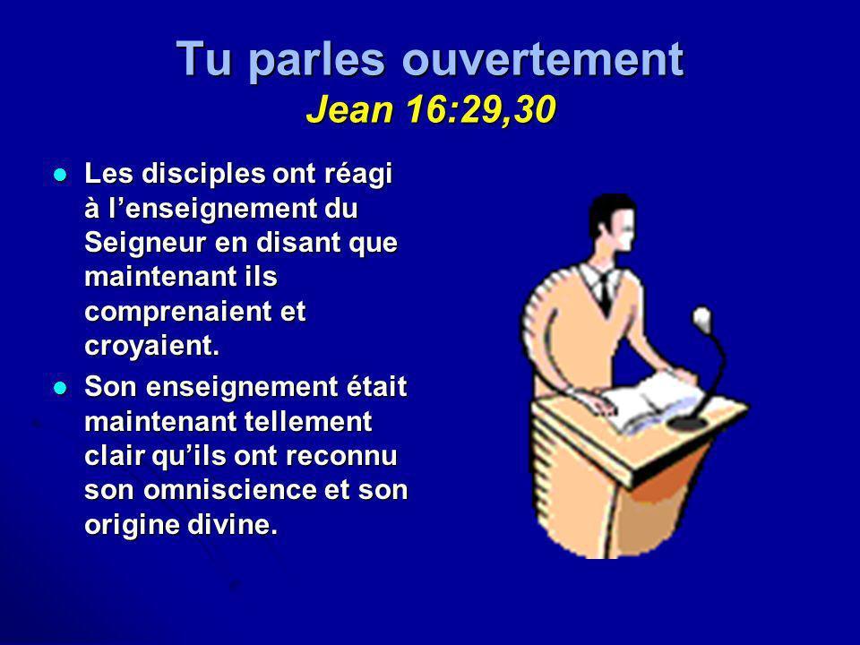 Tu parles ouvertement Jean 16:29,30