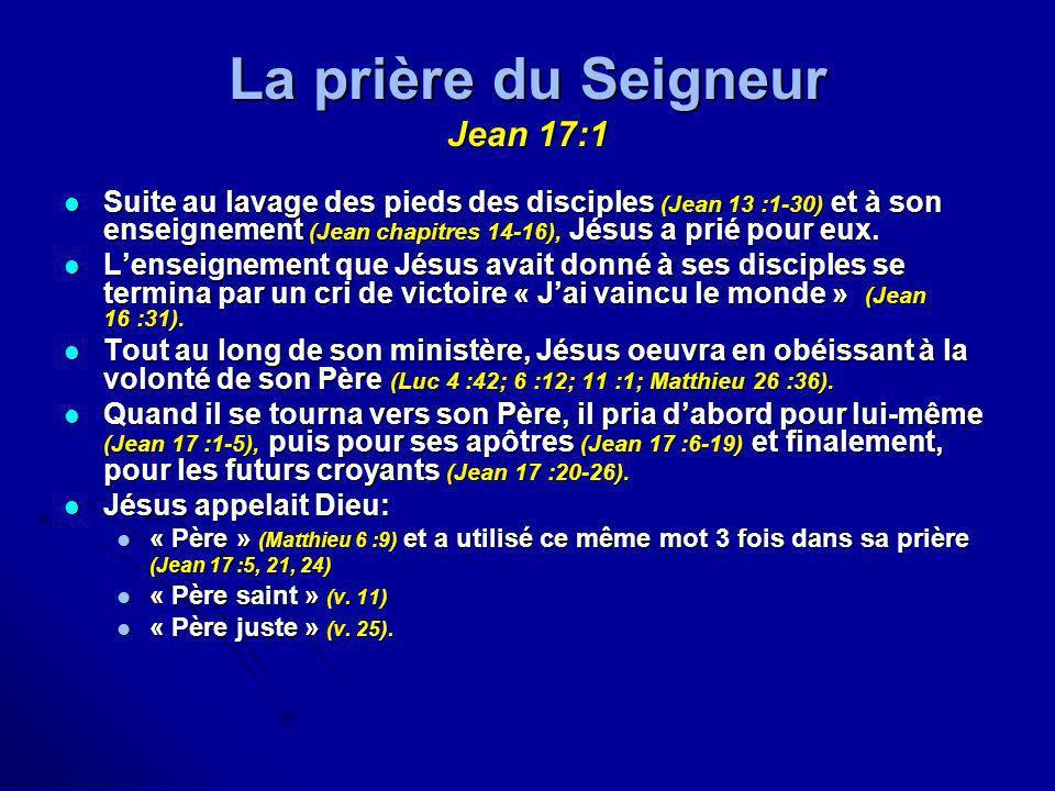 La prière du Seigneur Jean 17:1