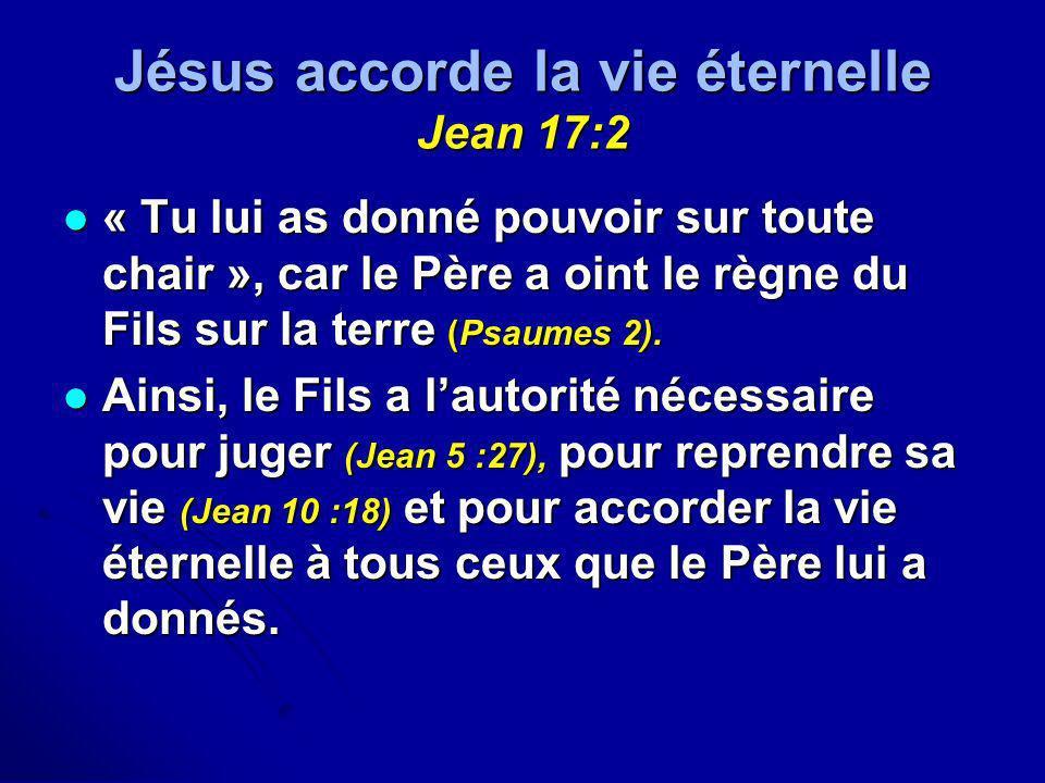 Jésus accorde la vie éternelle Jean 17:2