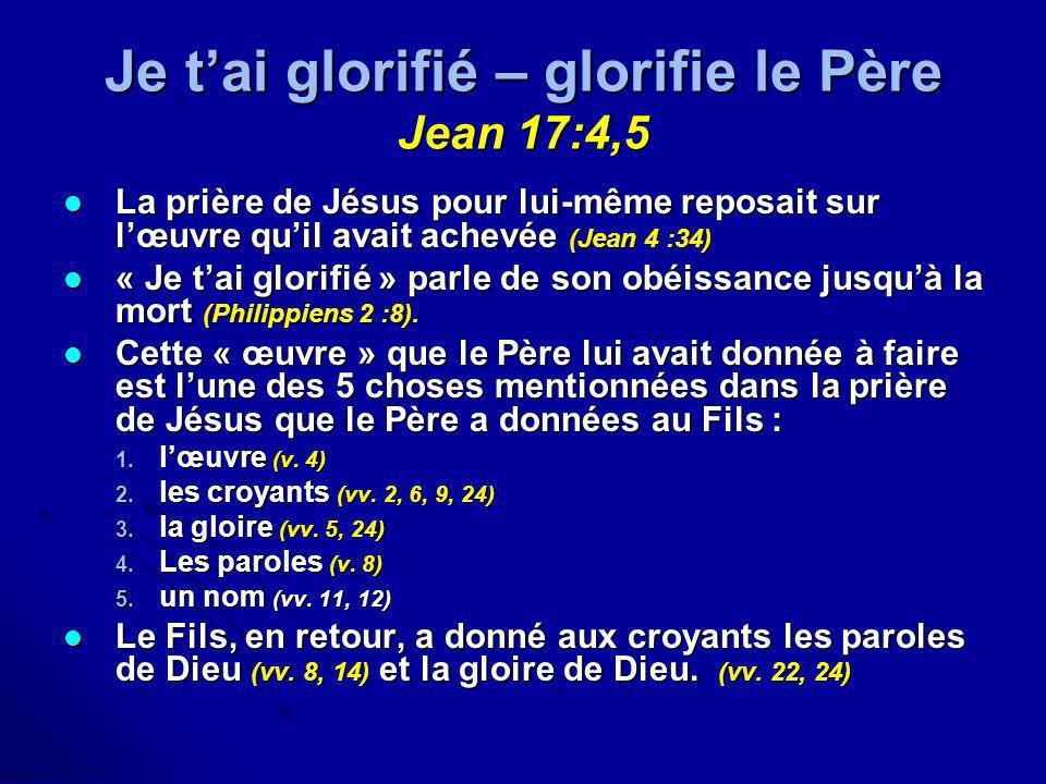 Je t'ai glorifié – glorifie le Père Jean 17:4,5