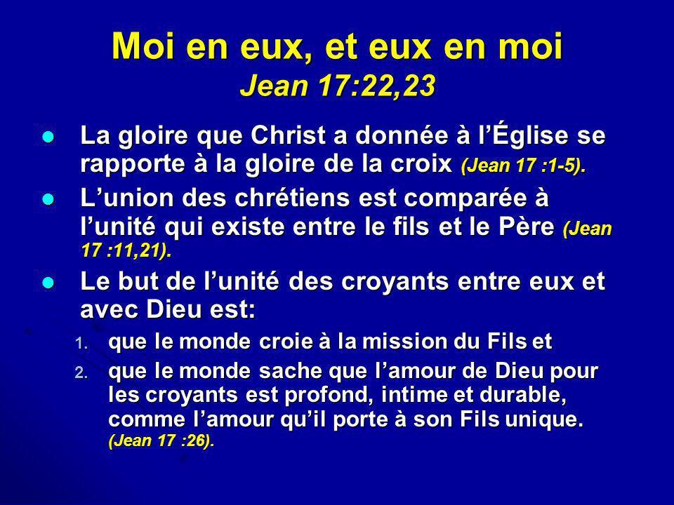 Moi en eux, et eux en moi Jean 17:22,23