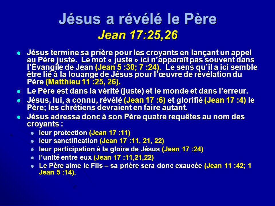 Jésus a révélé le Père Jean 17:25,26