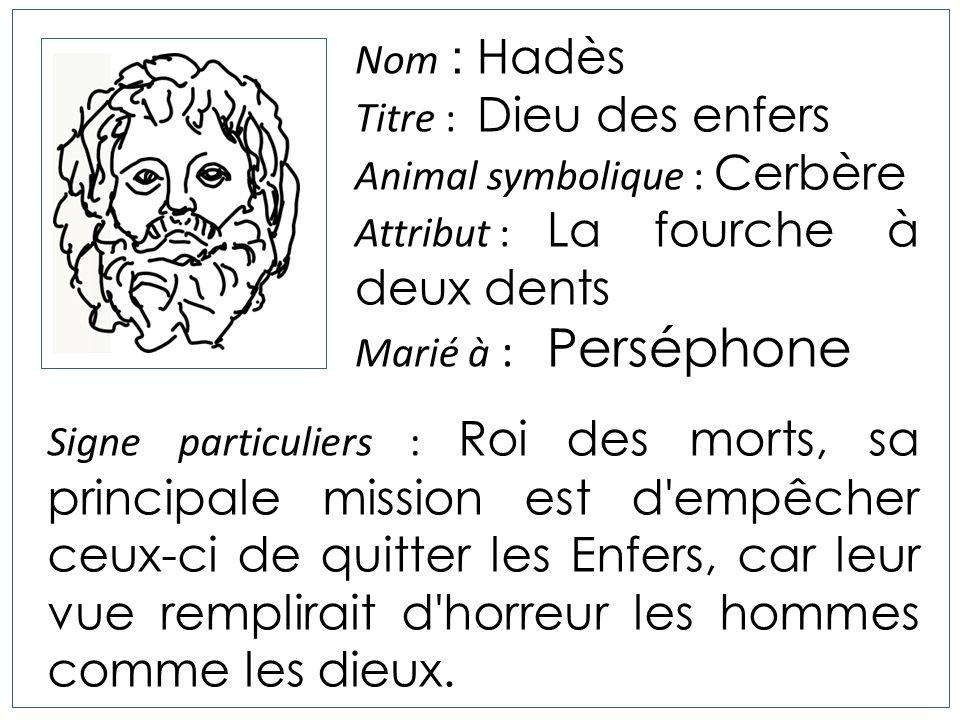 Nom : Hadès Titre : Dieu des enfers. Animal symbolique : Cerbère. Attribut : La fourche à deux dents.