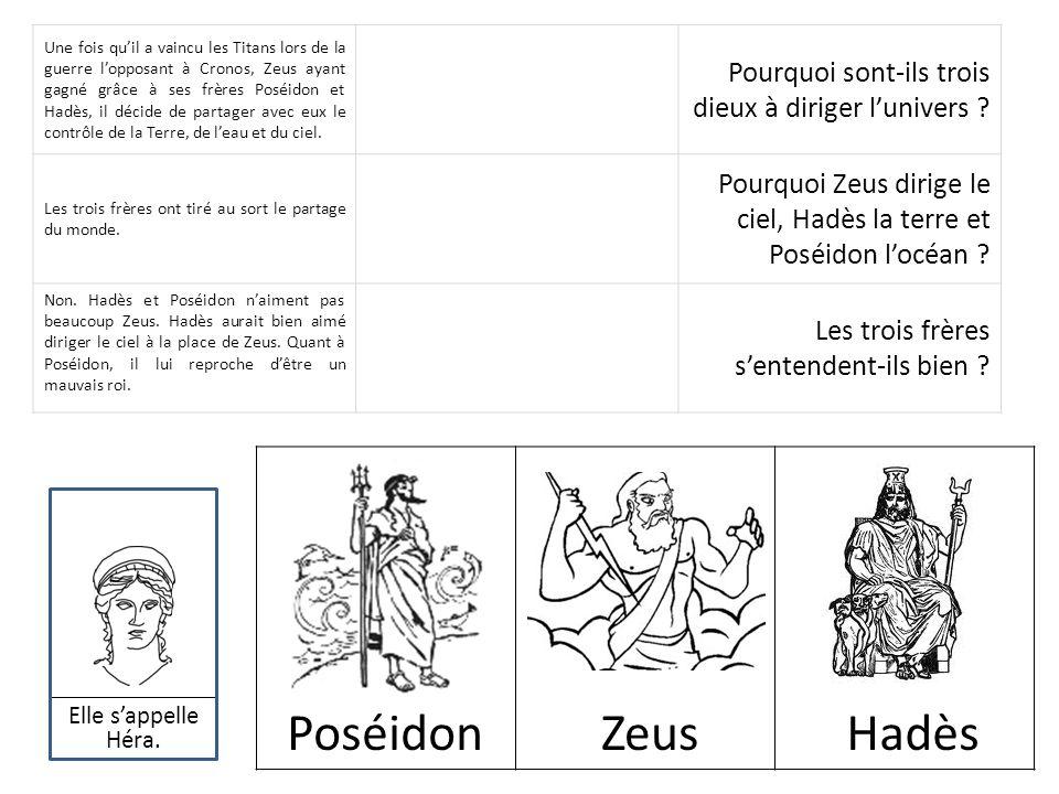 Une fois qu'il a vaincu les Titans lors de la guerre l'opposant à Cronos, Zeus ayant gagné grâce à ses frères Poséidon et Hadès, il décide de partager avec eux le contrôle de la Terre, de l'eau et du ciel.