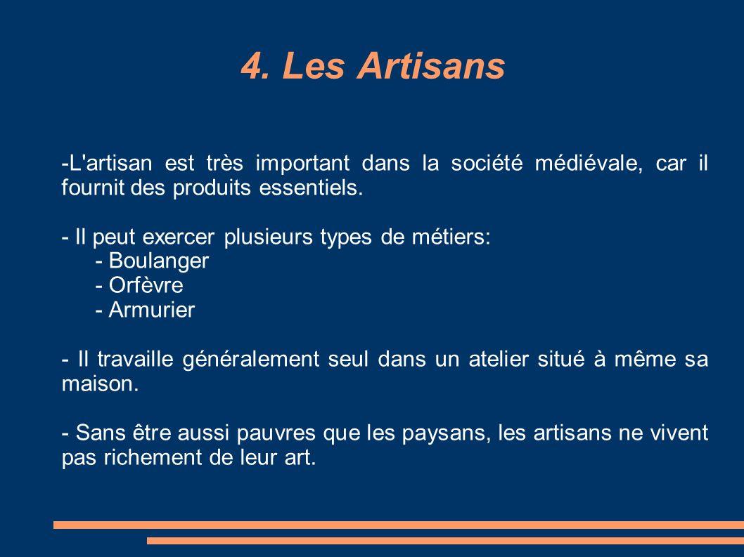 4. Les Artisans -L artisan est très important dans la société médiévale, car il fournit des produits essentiels.