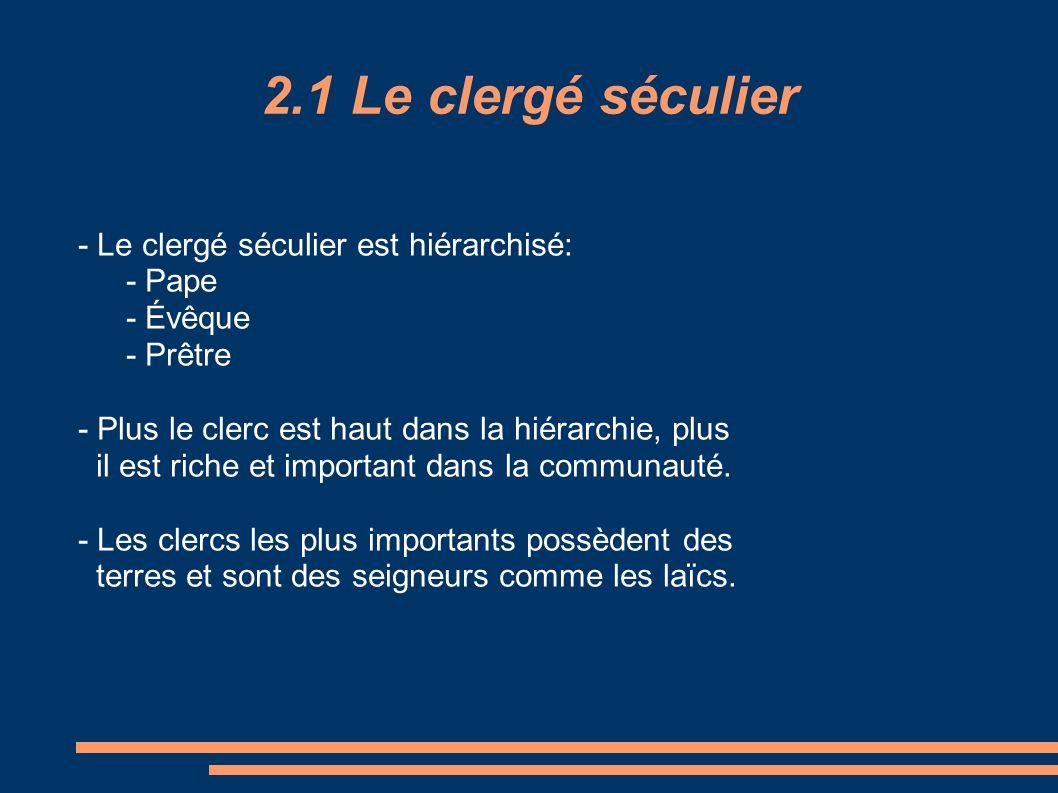 2.1 Le clergé séculier - Le clergé séculier est hiérarchisé: - Pape