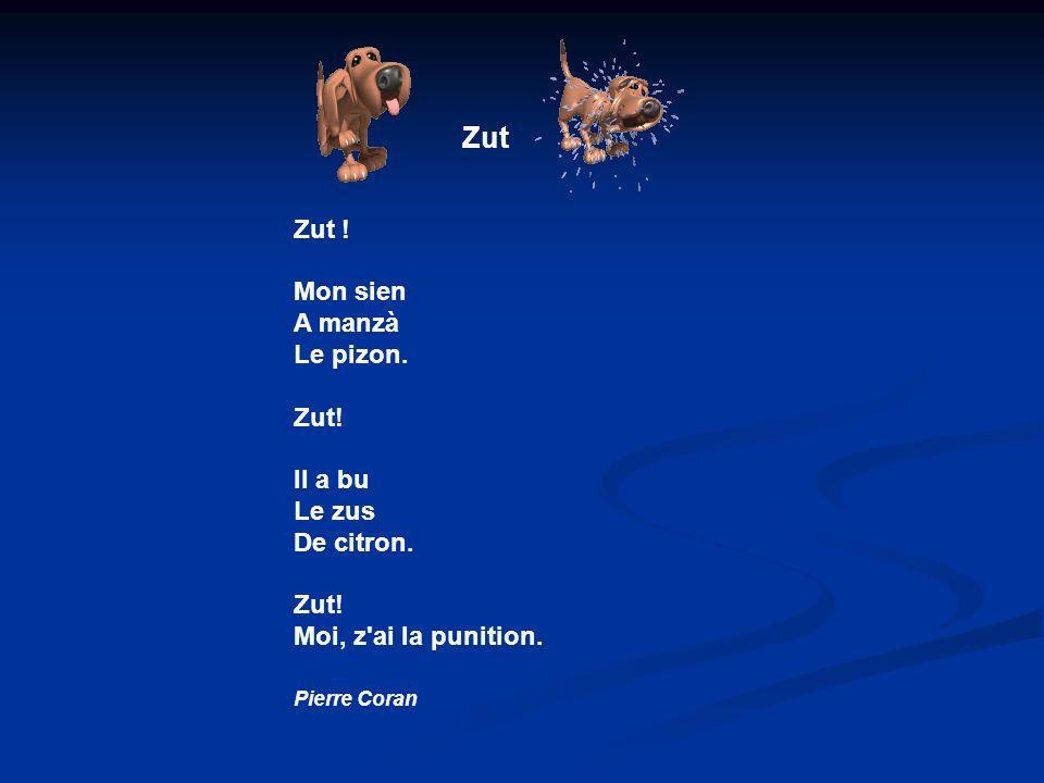 Zut Zut ! Mon sien A manzà Le pizon. Zut! Il a bu Le zus De citron.