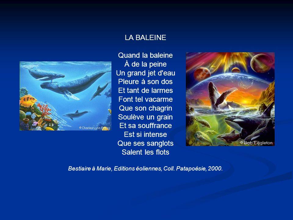 Bestiaire à Marie, Editions éoliennes, Coll. Patapoésie, 2000.