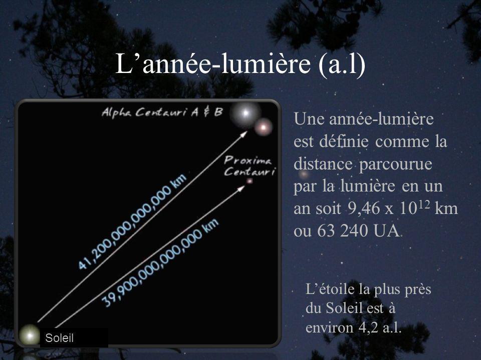 L'année-lumière (a.l) Une année-lumière est définie comme la distance parcourue par la lumière en un an soit 9,46 x 1012 km ou 63 240 UA.