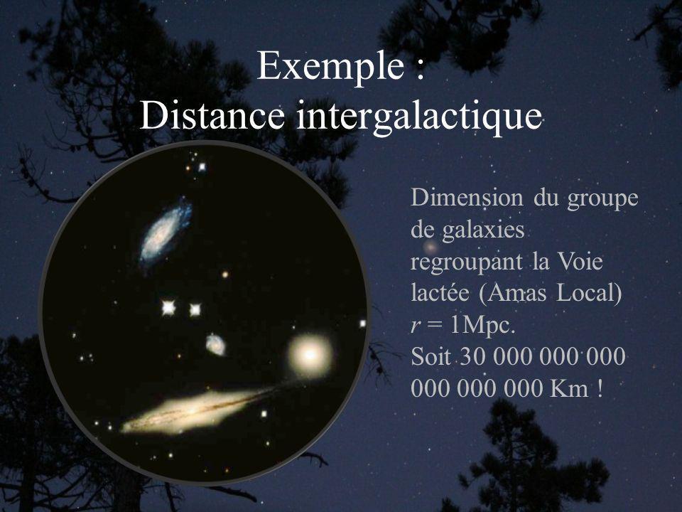 Exemple : Distance intergalactique