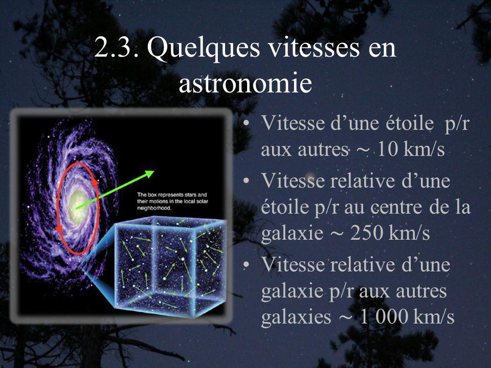 2.3. Quelques vitesses en astronomie