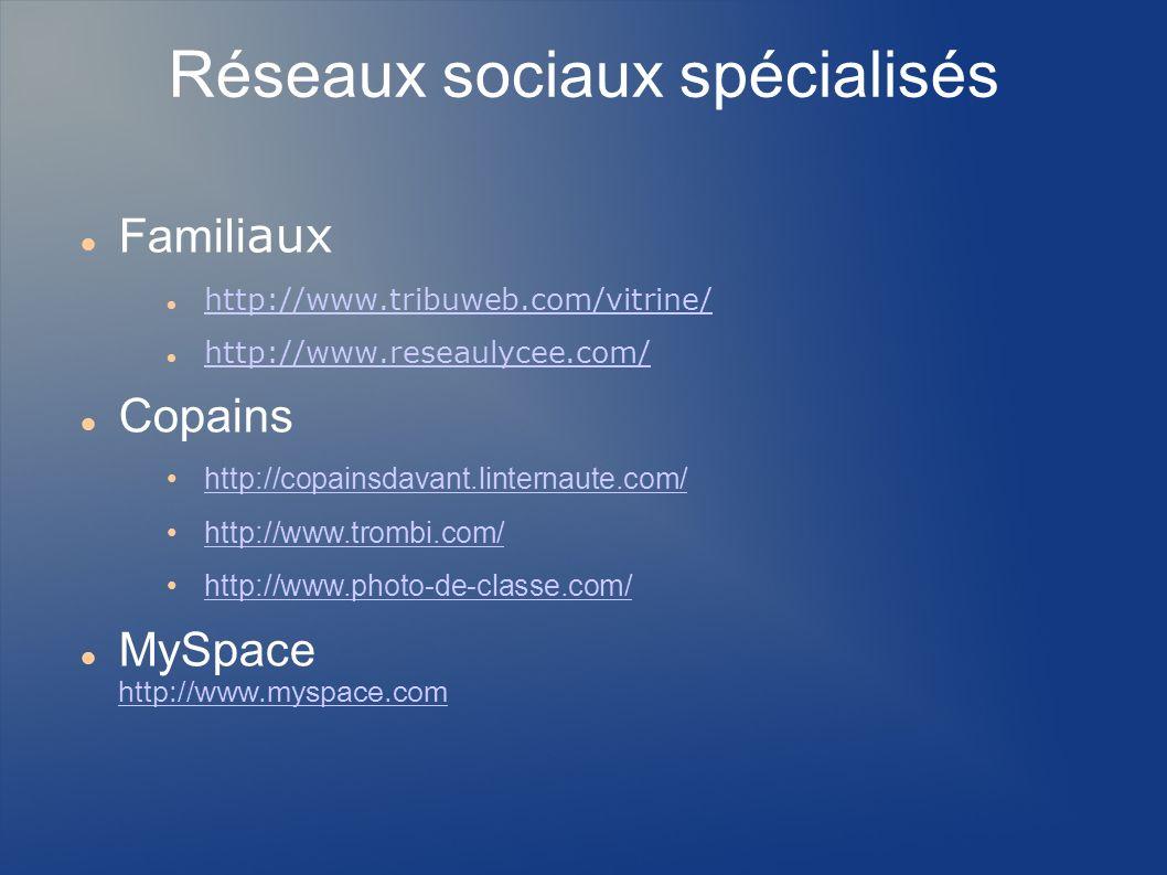 Réseaux sociaux spécialisés