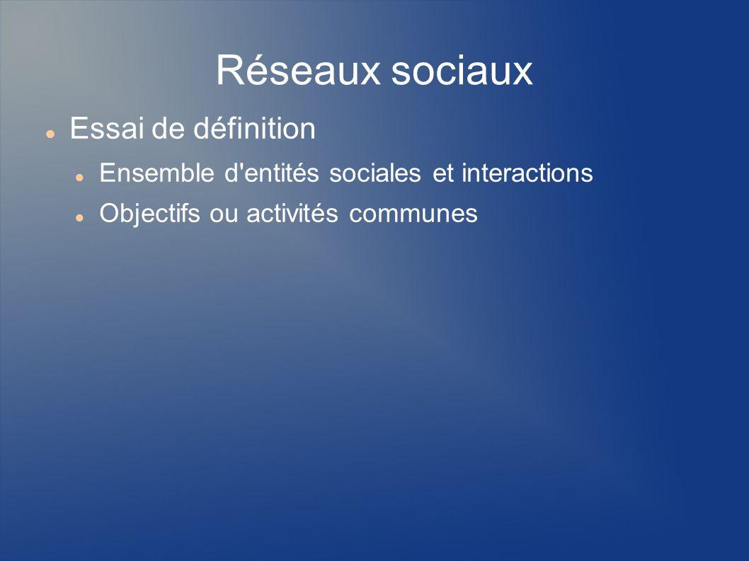 Réseaux sociaux Essai de définition