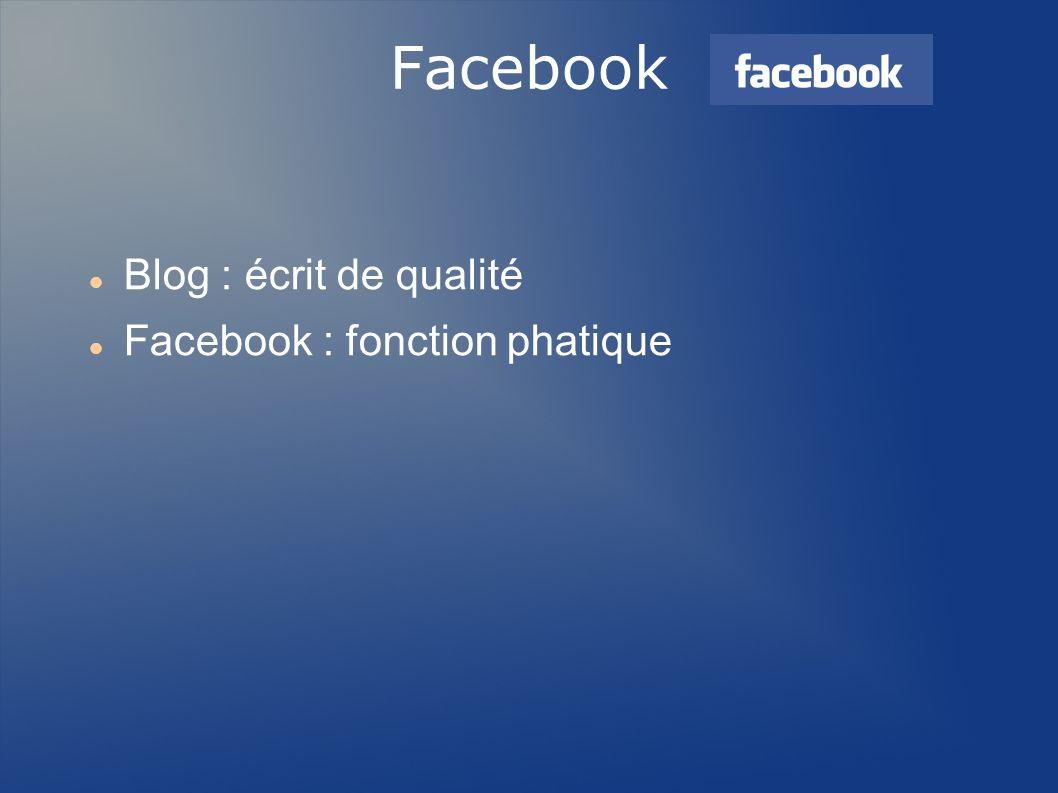 Facebook Blog : écrit de qualité Facebook : fonction phatique