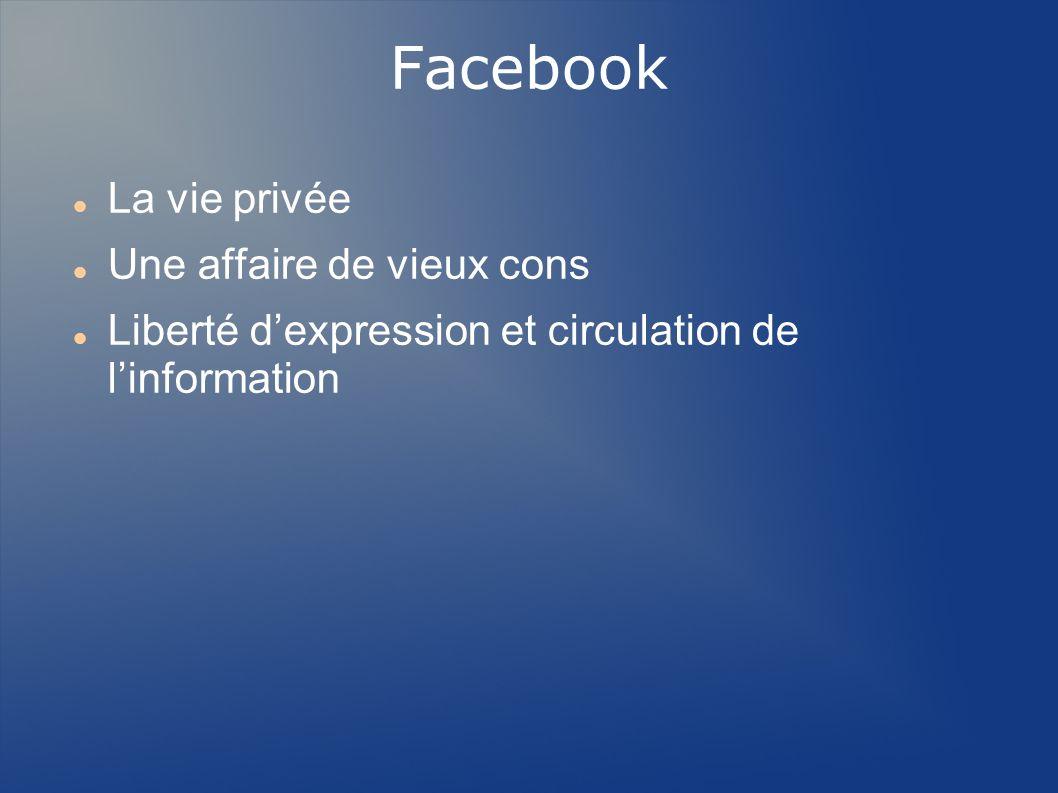 Facebook La vie privée Une affaire de vieux cons