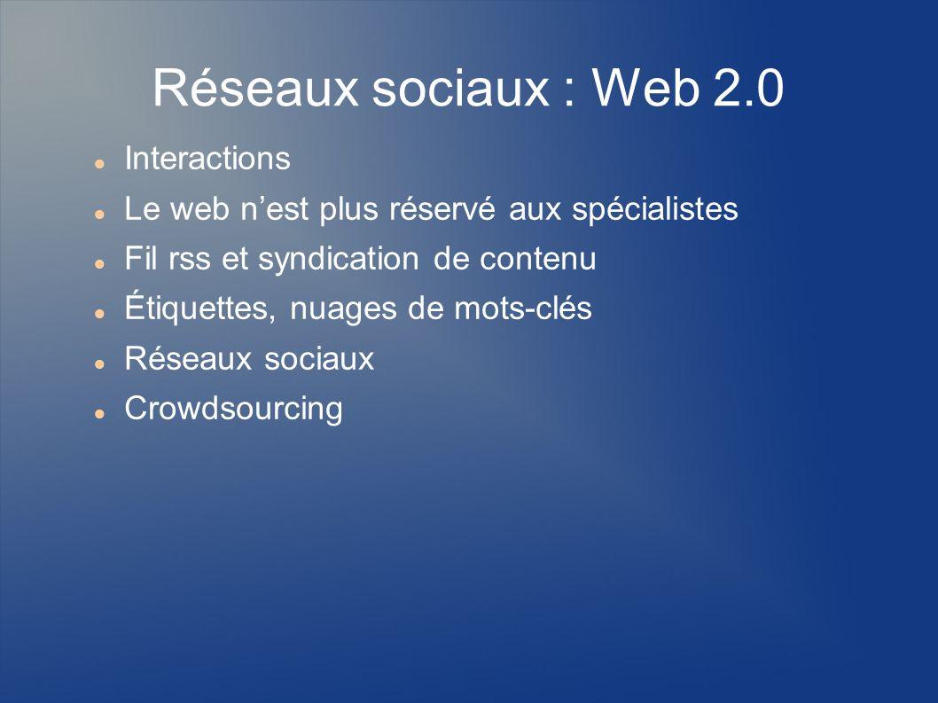 Réseaux sociaux : Web 2.0 Interactions