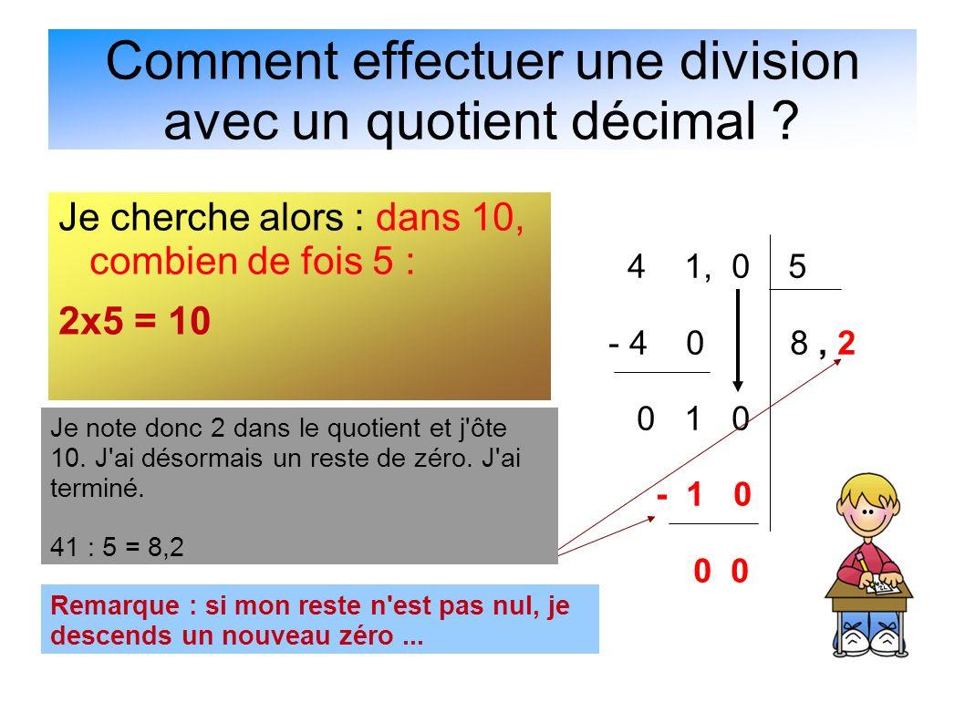 Comment effectuer une division avec un quotient décimal
