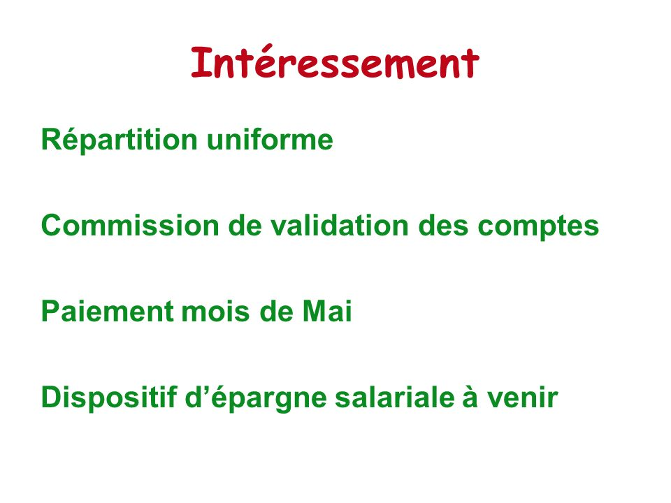 Intéressement Répartition uniforme