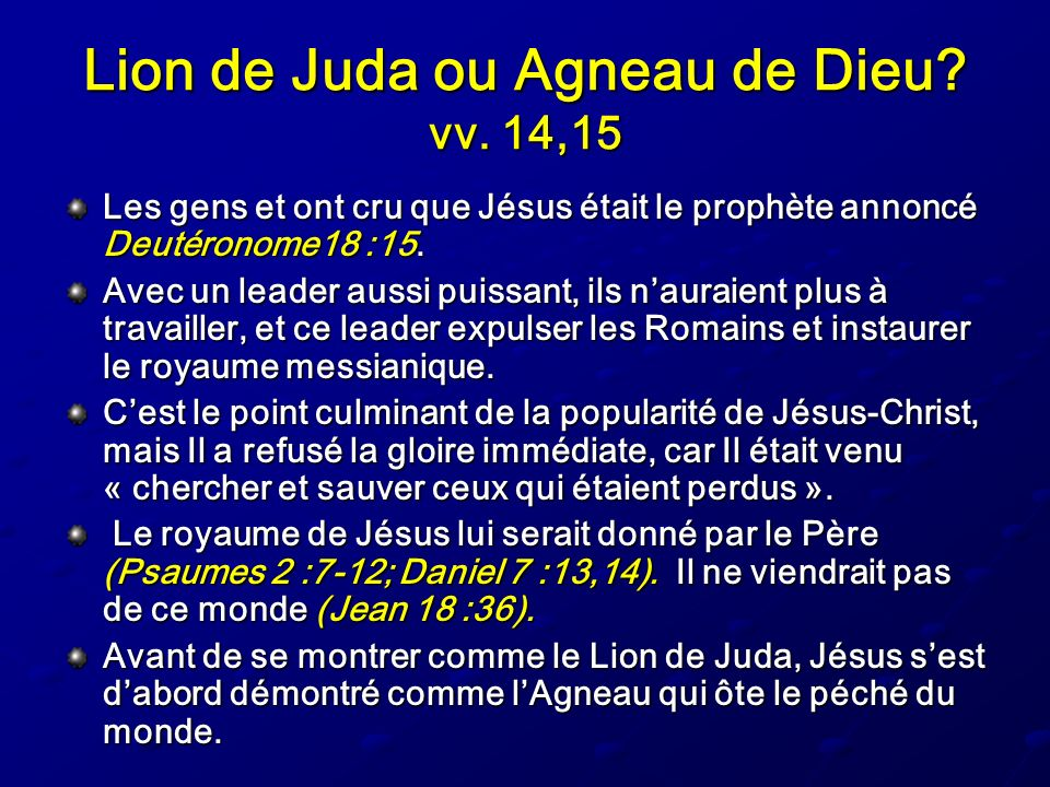 Lion de Juda ou Agneau de Dieu vv. 14,15