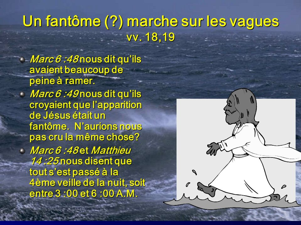 Un fantôme ( ) marche sur les vagues vv. 18,19