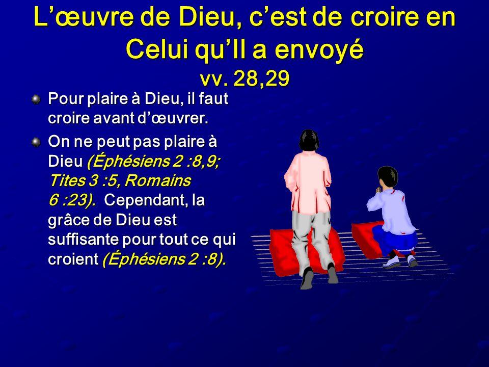 L'œuvre de Dieu, c'est de croire en Celui qu'Il a envoyé vv. 28,29