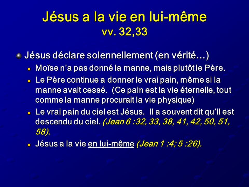 Jésus a la vie en lui-même vv. 32,33