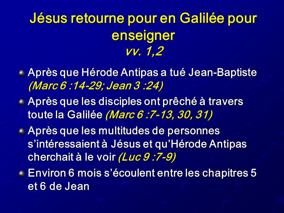 Jésus retourne pour en Galilée pour enseigner vv. 1,2