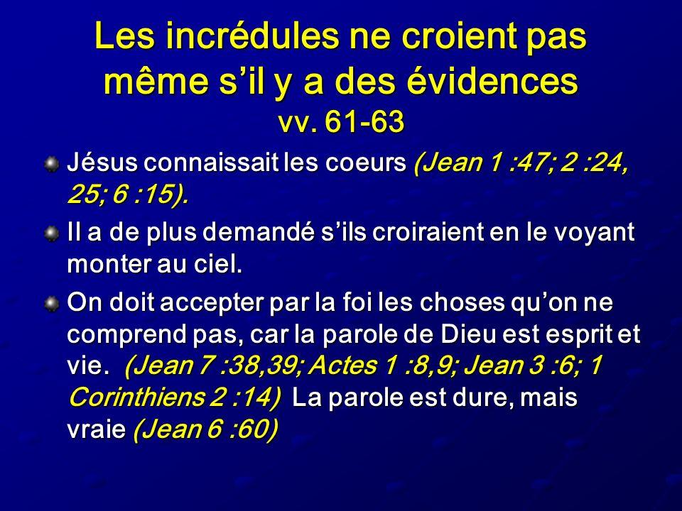 Les incrédules ne croient pas même s'il y a des évidences vv. 61-63