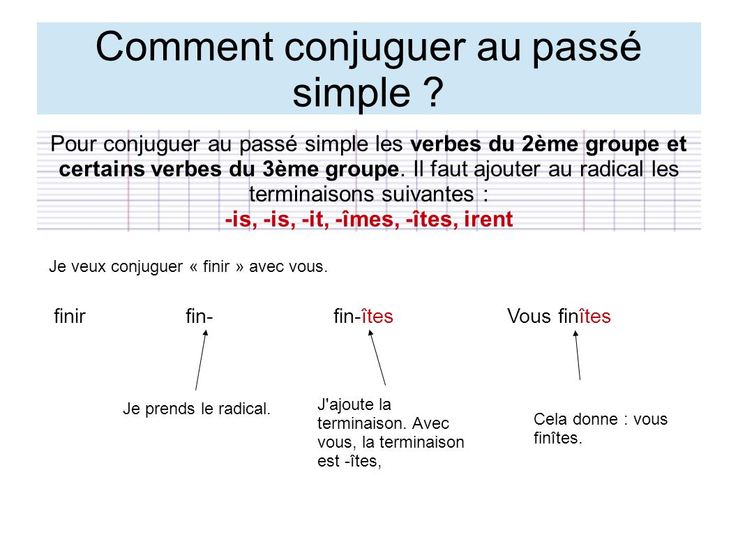 Comment conjuguer au passé simple