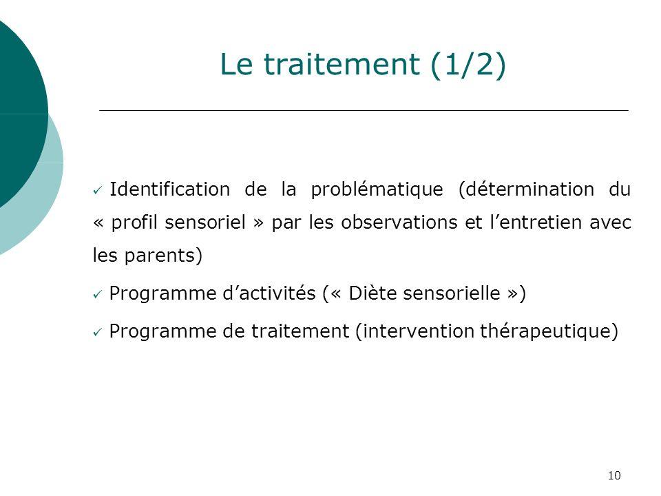 Le traitement (1/2) Identification de la problématique (détermination du « profil sensoriel » par les observations et l'entretien avec les parents)