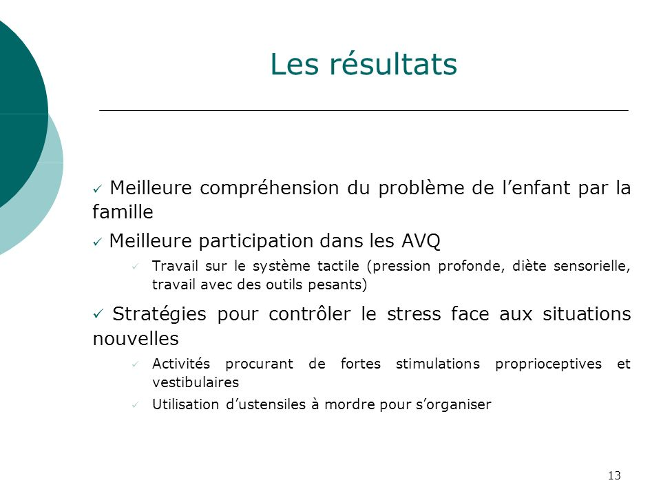 Les résultats Meilleure compréhension du problème de l'enfant par la famille. Meilleure participation dans les AVQ.