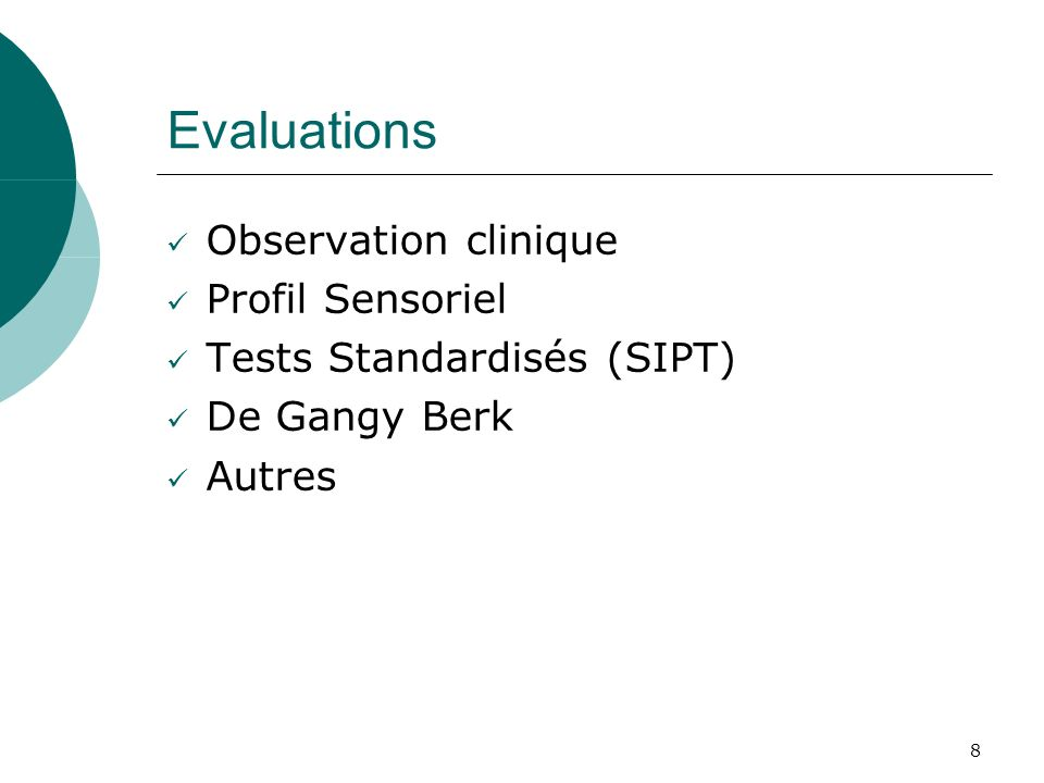 Evaluations Observation clinique Profil Sensoriel