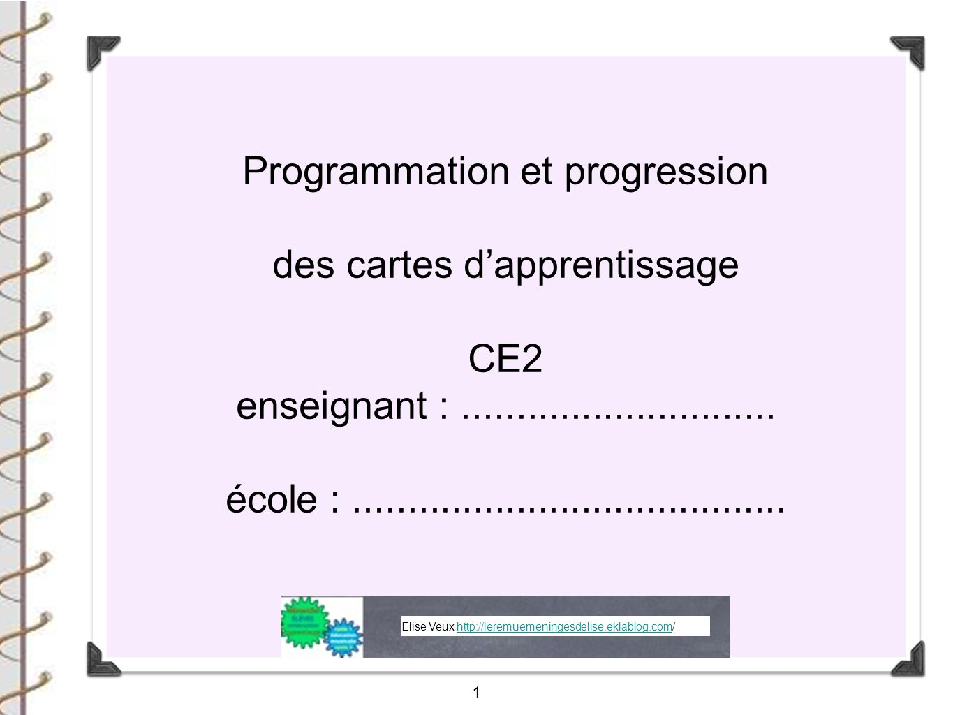 Programmation et progression des cartes d'apprentissage CE2