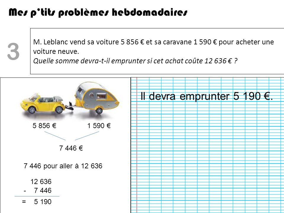 3 Mes p'tits problèmes hebdomadaires Il devra emprunter 5 190 €.