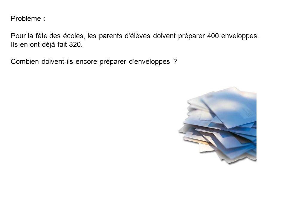 Problème : Pour la fête des écoles, les parents d'élèves doivent préparer 400 enveloppes. Ils en ont déjà fait 320.