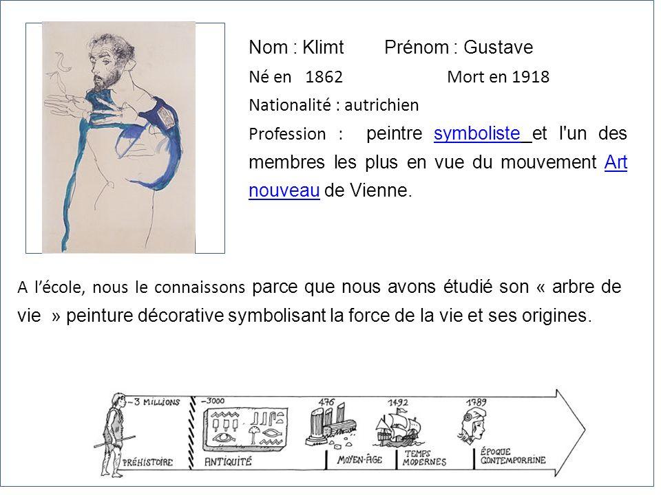 Nom : Klimt Prénom : Gustave