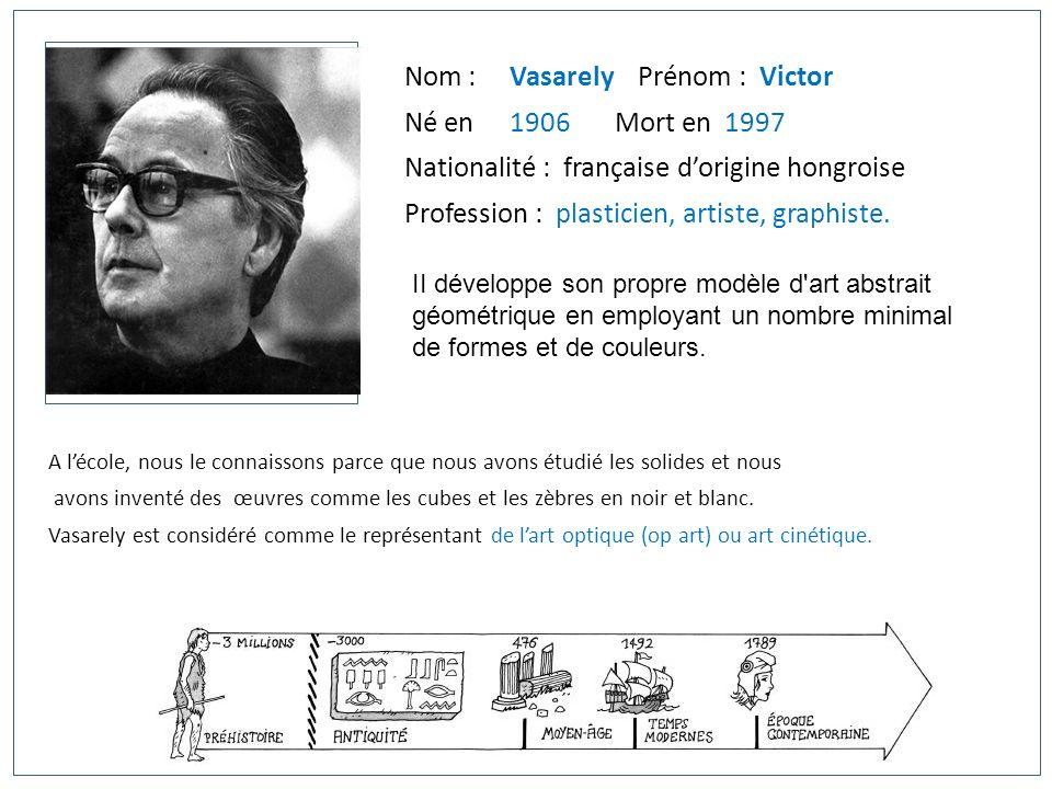 Nom : Vasarely Prénom : Victor Né en 1906 Mort en 1997