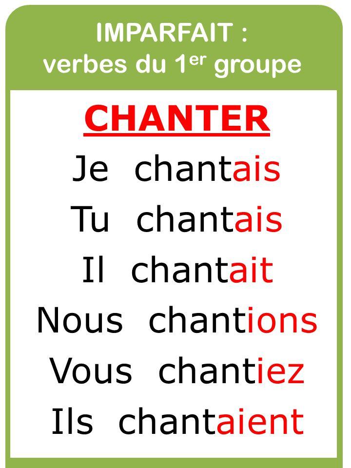 IMPARFAIT : verbes du 1er groupe