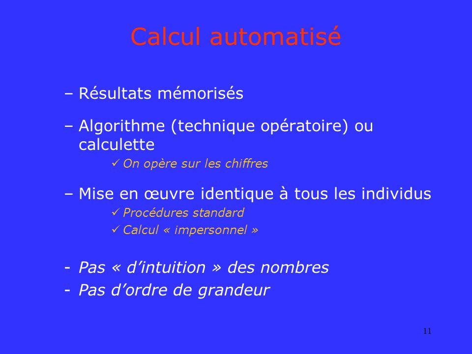 Calcul automatisé Résultats mémorisés