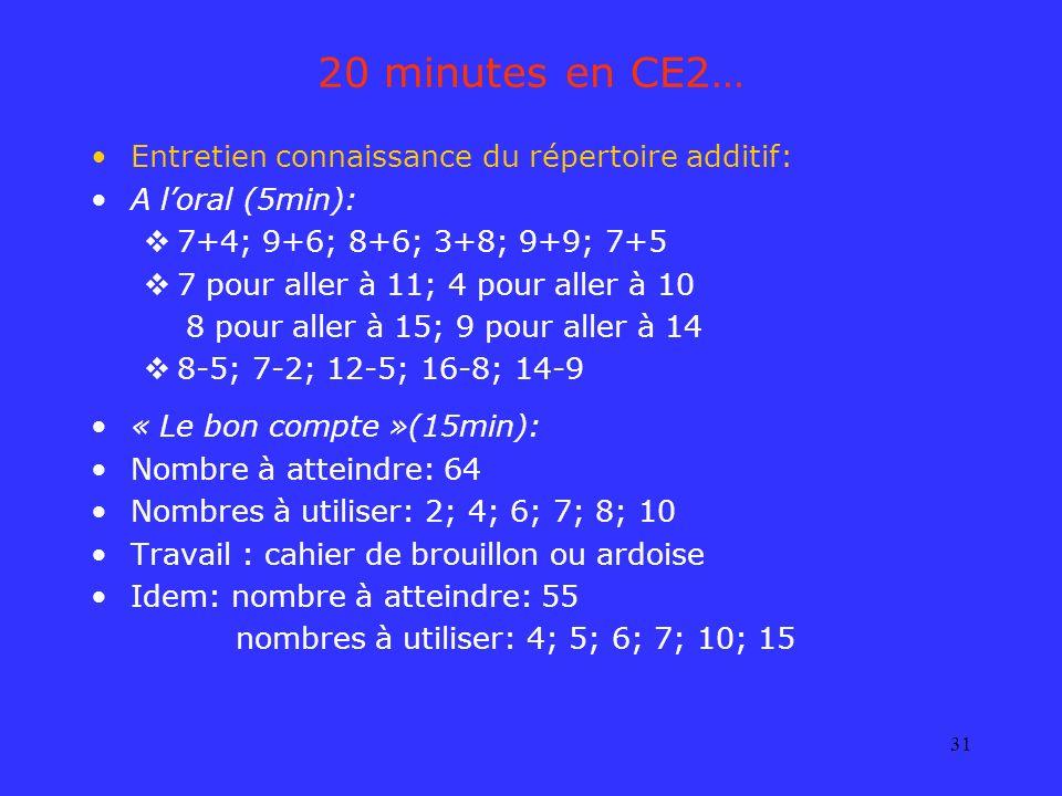 20 minutes en CE2… Entretien connaissance du répertoire additif: