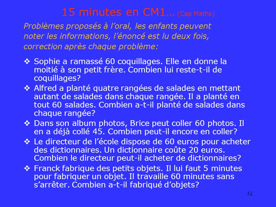 15 minutes en CM1… (Cap Maths)