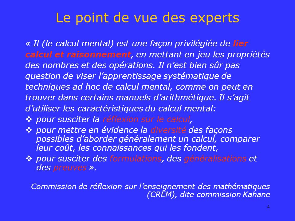 Le point de vue des experts