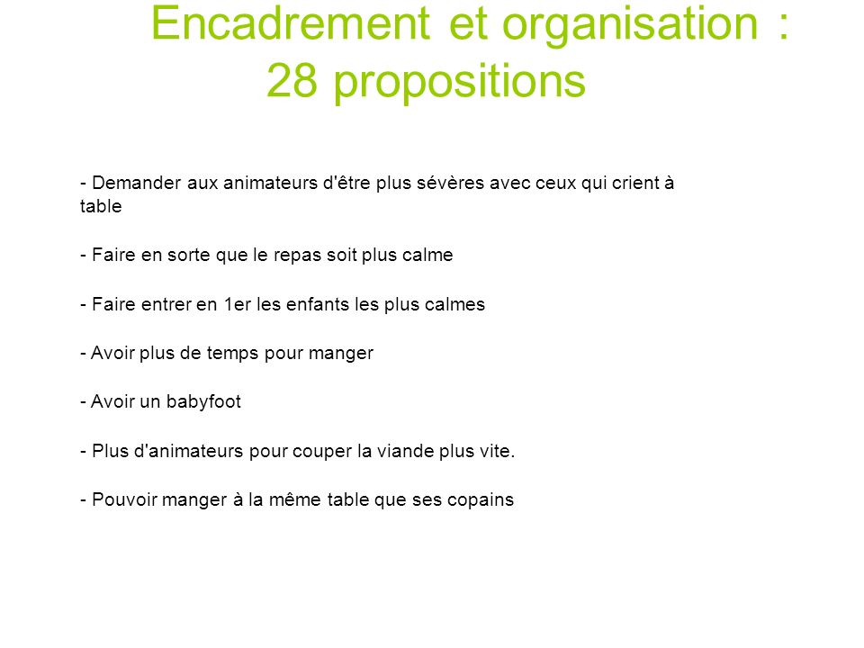 Encadrement et organisation : 28 propositions