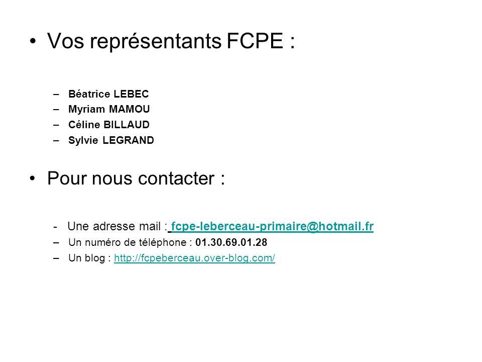 Vos représentants FCPE :
