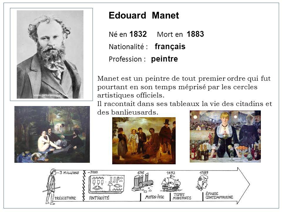 Edouard Manet Né en 1832 Mort en 1883 Nationalité : français
