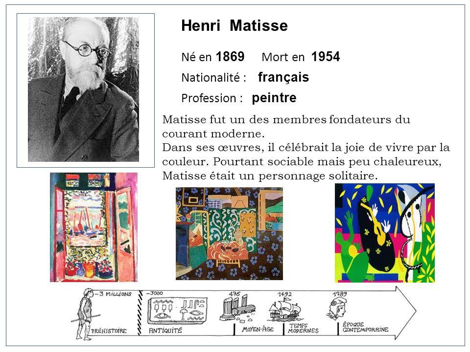 Henri Matisse Né en 1869 Mort en 1954 Nationalité : français