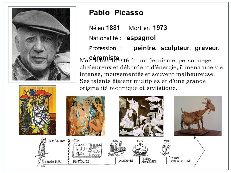 Pablo Picasso Né en 1881 Mort en 1973 Nationalité : espagnol