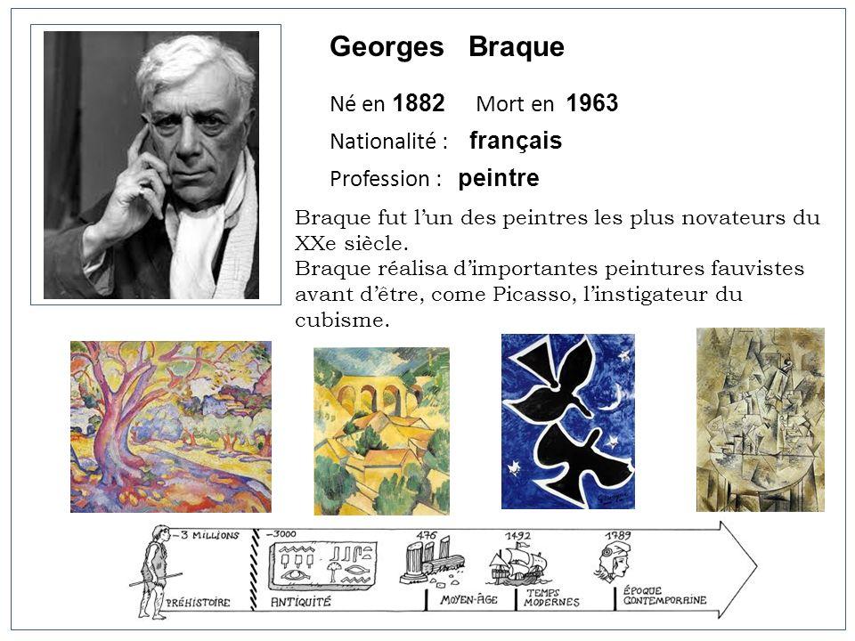 Georges Braque Né en 1882 Mort en 1963 Nationalité : français